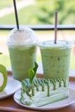 Το πράσινο τσάι crepe το κέικ με το πράσινο τσάι matcha Στοκ φωτογραφίες με δικαίωμα ελεύθερης χρήσης