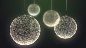 Το πράσινο υπόβαθρο παιχνιδιών Χριστουγέννων μορίων περιτυλίχτηκε απόθεμα βίντεο