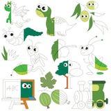 Το πράσινο χρώμα αντιτίθεται, το μεγάλο παιχνίδι παιδιών που χρωματίζεται από το παράδειγμα κατά το ήμισυ Στοκ εικόνα με δικαίωμα ελεύθερης χρήσης