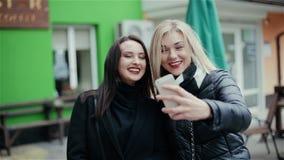 Το προκλητικό κορίτσι δύο φωτογραφίζει στο τηλέφωνο απόθεμα βίντεο