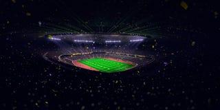 Το πρωτάθλημα αγωνιστικών χώρων ποδοσφαίρου χώρων σταδίων νύχτας κερδίζει Μπλε τονισμός στοκ εικόνες
