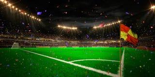 Το πρωτάθλημα γηπέδων ποδοσφαίρου χώρων σταδίων νύχτας κερδίζει Στοκ Εικόνα