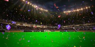 Το πρωτάθλημα γηπέδων ποδοσφαίρου χώρων σταδίων νύχτας κερδίζει Στοκ φωτογραφία με δικαίωμα ελεύθερης χρήσης