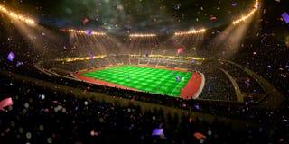 Το πρωτάθλημα γηπέδων ποδοσφαίρου χώρων σταδίων νύχτας κερδίζει Στοκ φωτογραφίες με δικαίωμα ελεύθερης χρήσης