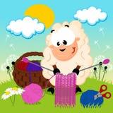 Το πρόβατο πλέκει το νήμα Στοκ εικόνες με δικαίωμα ελεύθερης χρήσης