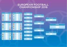Το πρόγραμμα αντιστοιχιών Footbal του 2016 ευρώ, πρότυπο για τον Ιστό, τυπωμένη ύλη, ποδόσφαιρο οδηγεί πίνακας, σημαίες των ευρωπ Στοκ Εικόνες