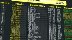 Το πρόγραμμα επιτραπέζιων αναχωρήσεων αερολιμένων, πετώντας κάμερα, διεθνείς πτήσεις αναζωογονεί απεικόνιση αποθεμάτων