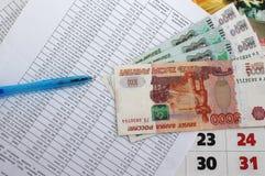 Το πρόγραμμα των πληρωμών και των χρημάτων Στοκ Εικόνες