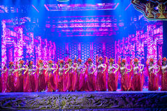 Το πρόστιμο που χαράζει στάδιο-ιστορικό μαγικό το μαγικό δράματος τραγουδιού και χορού ύφους - Gan Po Στοκ Φωτογραφία