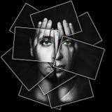 Το πρόσωπο λάμπει μέσω των χεριών, το πρόσωπο διαιρείται σε πολλά μέρη με τις κάρτες, διπλή έκθεση στοκ εικόνα
