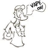 Το πρόσωπο με ένα ηλεκτρονικό τσιγάρο στα χέρια Στοκ φωτογραφίες με δικαίωμα ελεύθερης χρήσης