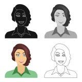 Το πρόσωπο μιας γυναίκας με ένα hairdo Ενιαίο εικονίδιο προσώπου και εμφάνισης στο διανυσματικό Ιστό απεικόνισης αποθεμάτων συμβό ελεύθερη απεικόνιση δικαιώματος