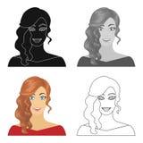 Το πρόσωπο μιας γυναίκας με ένα hairdo Ενιαίο εικονίδιο προσώπου και εμφάνισης στο διανυσματικό Ιστό απεικόνισης αποθεμάτων συμβό διανυσματική απεικόνιση