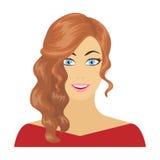 Το πρόσωπο μιας γυναίκας με ένα hairdo Ενιαίο εικονίδιο προσώπου και εμφάνισης στο διανυσματικό Ιστό απεικόνισης αποθεμάτων συμβό απεικόνιση αποθεμάτων