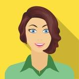 Το πρόσωπο μιας γυναίκας με ένα hairdo Ενιαίο εικονίδιο προσώπου και εμφάνισης στον επίπεδο Ιστό απεικόνισης αποθεμάτων συμβόλων  ελεύθερη απεικόνιση δικαιώματος