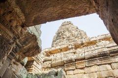 Το πρόσωπο πετρών χαμόγελου σε Prasat Bayon, Angkor Thom, Siem συγκεντρώνει, Καμπότζη Στοκ Εικόνες