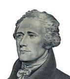 Το πρόσωπο του Αλεξάνδρου Χάμιλτον στη μακροεντολή λογαριασμών αμερικανικών δέκα ή 10 δολαρίων ενώνει Στοκ Φωτογραφία