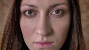 Το πρόσωπο του σοβαρού καφετιού κοριτσιού τρίχας προσέχει στη κάμερα, θολωμένο υπόβαθρο φιλμ μικρού μήκους
