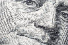 Το πρόσωπο του Benjamin Franklin σε έναν λογαριασμό εκατό-δολαρίων Στοκ φωτογραφία με δικαίωμα ελεύθερης χρήσης