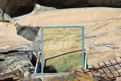 Το πρόσωπο Χριστού χρωμάτισε στο βράχο πριν από 1000 χρόνια από Στοκ φωτογραφία με δικαίωμα ελεύθερης χρήσης