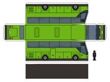 Το πρότυπο εγγράφου ενός πράσινου λεωφορείου Απεικόνιση αποθεμάτων