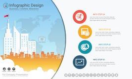 Το πρότυπο επιχειρησιακού infographics, η υπόδειξη ως προς το χρόνο κύριων σημείων ή ο οδικός χάρτης με τη διαδικασία απεικονίζου Στοκ Εικόνες
