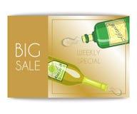 Το πρότυπο καταλόγων κρασιού εμβλημάτων πώλησης Alccohol για τις επιλογές φραγμών ή εστιατορίων σχεδιάζει τη διανυσματική απεικόν διανυσματική απεικόνιση