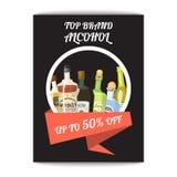 Το πρότυπο καταλόγων κρασιού εμβλημάτων Alccohol για τις επιλογές φραγμών ή εστιατορίων σχεδιάζει τη διανυσματική απεικόνιση Δημι απεικόνιση αποθεμάτων