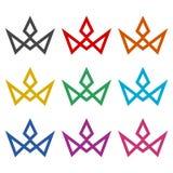 Το πρότυπο λογότυπων κορωνών, στέφει το απλό εικονίδιο, σύνολο χρώματος ελεύθερη απεικόνιση δικαιώματος