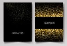 Το πρότυπο πρόσκλησης με το χρυσό ακτινοβολεί υπόβαθρο κομφετί Εορταστικό σχέδιο ευχετήριων καρτών για το γεγονός απεικόνιση αποθεμάτων