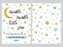 Το πρότυπο πρόσκλησης ντους μωρών, backgtround με τα μπλε χρυσά χρυσά αστέρια σχεδιάζει, διανυσματικό σύνολο Στοκ Φωτογραφία