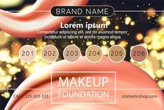 Το πρότυπο σχεδίου Makeup για το καλλυντικό ιπτάμενο, makeup στούντιο καλλιτεχνών ή καλλυντικά ψωνίζει Επιγραφή περιοχών, επαγγελ απεικόνιση αποθεμάτων