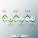Το πρότυπο σχεδίου Infographic με την υπόδειξη ως προς το χρόνο και 6 σύνδεσαν τα τετραγωνικά στοιχεία στο πράσινο χρώμα διανυσματική απεικόνιση
