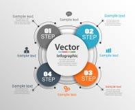 Το πρότυπο σχεδίου Infographic μπορεί να χρησιμοποιηθεί για το σχεδιάγραμμα ροής της δουλειάς, διάγραμμα, επιλογές αριθμού, σχέδι Στοκ Φωτογραφία
