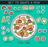 Το πρότυπο doodle έθεσε το συστατικό για να χτίσει την πίτσα Αντικείμενο αυτοκόλλητων ετικεττών Στοκ φωτογραφία με δικαίωμα ελεύθερης χρήσης