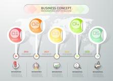 Το πρότυπο infographics υπόδειξης ως προς το χρόνο, μπορεί να χρησιμοποιηθεί για το σχεδιάγραμμα ροής της δουλειάς, διάγραμμα Στοκ Φωτογραφία