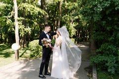 Το πρώτο βλέμμα, συναντιέται του ευτυχούς γαμπρού χαμόγελου στο κλασικό κοστούμι με το δεσμό τόξων με την καταπληκτική ανθοδέσμη  στοκ φωτογραφία με δικαίωμα ελεύθερης χρήσης