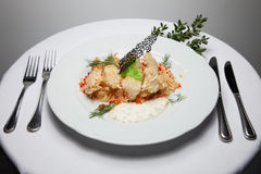 Το πρώτο πιάτο του ρυζιού με το κοτόπουλο Στοκ φωτογραφίες με δικαίωμα ελεύθερης χρήσης