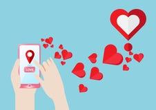 Το ΠΣΤ Smartphone πλοηγεί το εύρημα για να αγαπήσει την καρδιά Στοκ εικόνες με δικαίωμα ελεύθερης χρήσης