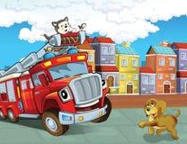 Το πυροσβεστικό όχημα - απεικόνιση για τα παιδιά διανυσματική απεικόνιση