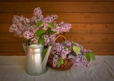 Το πότισμα μπορεί και καλάθι με τους κλάδους του ιώδους λουλουδιού Στοκ εικόνες με δικαίωμα ελεύθερης χρήσης