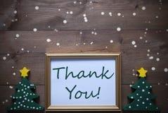 Το πλαίσιο εικόνων με το χριστουγεννιάτικο δέντρο και το κείμενο σας ευχαριστούν, Snowflake Στοκ Εικόνες