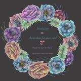 Το πλαίσιο κύκλων, το στεφάνι με τα λουλούδια anemone watercolor, η φτέρη και οι κλάδοι δίνουν επισυμένος την προσοχή σε ένα σκοτ Στοκ Εικόνα