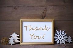 Το πλαίσιο με την άσπρη διακόσμηση Χριστουγέννων, σας ευχαριστεί Στοκ εικόνες με δικαίωμα ελεύθερης χρήσης