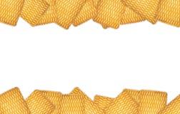 Το πλαίσιο του στρογγυλού μπισκότου σε ένα άσπρο υπόβαθρο Στοκ φωτογραφίες με δικαίωμα ελεύθερης χρήσης