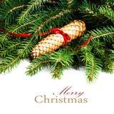 Το πλαίσιο Χριστουγέννων με τον κλάδο δέντρων του FIR και τη διακόσμηση Χριστουγέννων είναι Στοκ φωτογραφίες με δικαίωμα ελεύθερης χρήσης