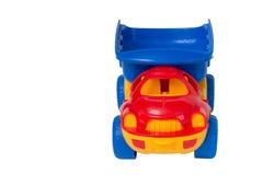 Το πλαστικό αυτοκίνητο παιχνιδιών παιδιών ` s, μπροστινή άποψη, διάστημα αντιγράφων είναι διαθέσιμο Στοκ Εικόνα