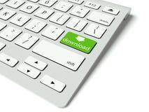 Το πληκτρολόγιο και πράσινος μεταφορτώνει το κουμπί, έννοια Διαδικτύου Στοκ Φωτογραφίες