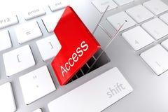Το πληκτρολόγιο με το κόκκινο εισάγει τη βασική πρόσβαση Στοκ Εικόνες