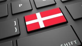Το πληκτρολόγιο σημαιών της Δανίας εισάγει το κουμπί Στοκ Εικόνες